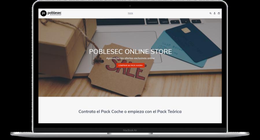 Portátil con la web de la tienda online de Poblesec